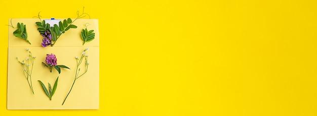 Желтый конверт с различными полевыми цветами