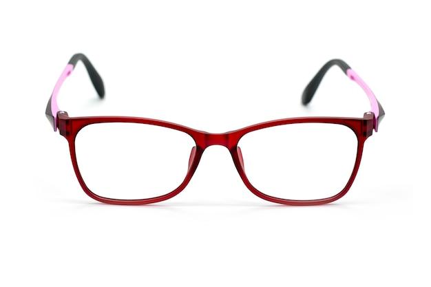 白で隔離される現代のファッショナブルな眼鏡