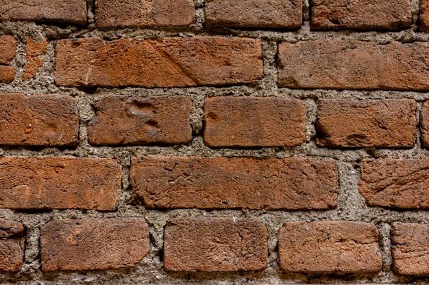 レンガの壁。時が経つにつれてレンガがすり減る。