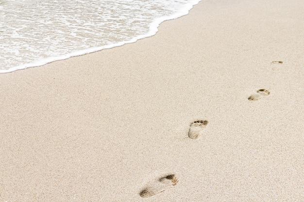 曇りの日に足跡とビーチショア