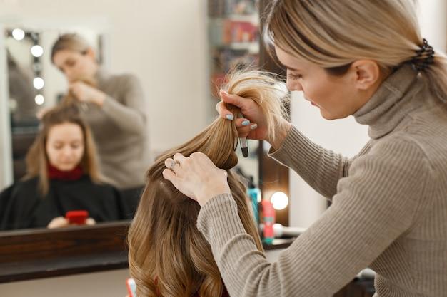 サロンでクライアントと働くプロの美容師