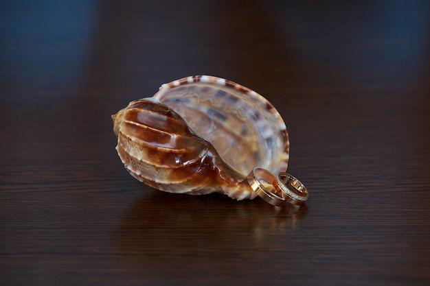 結婚指輪と木製の表面に貝殻