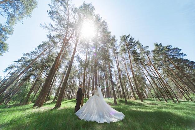 Эмоциональная свадьба пара в зеленом парке весной. портрет жениха и невесты в солнечный день на открытом воздухе. жених и невеста обниматься и улыбаться в день свадьбы на природе. красивые молодожены гуляют на открытом воздухе