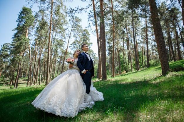 新郎新婦は緑豊かな公園を歩いています。 。屋外で抱きしめる新婚夫婦の肖像画。結婚式の日。ロマンチックな瞬間を楽しむ結婚式のカップル