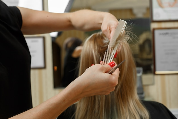 散髪のプロセス。美容師は、手入れの行き届いたブロンドの髪の毛の端をカットします。ヘアマスター。美容師向けのコース。