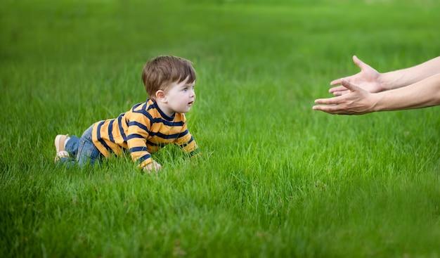 Сын ползет в руках своего отца на зеленой траве