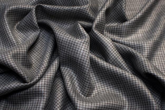 Шерстяная ткань с шелковым костюмом на гусиной лапке цвет серо-коричневый фактура фон