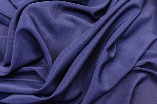 ダークブルー色のシルク生地のクレープデシンストレッチ