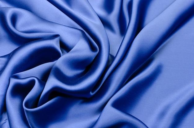 ブルーのシルクサテン生地