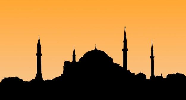 旧市街-トルコのイスタンブールで夕日にハギアソフィアのシルエット。