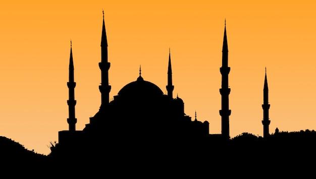 旧市街-トルコイスタンブールの夕日のスルタンアフメットモスクのシルエット。