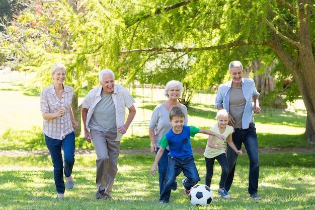 ボールで遊んでいる幸せな家族