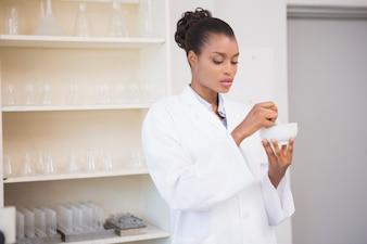 乳棒と乳鉢を使った集中科学者