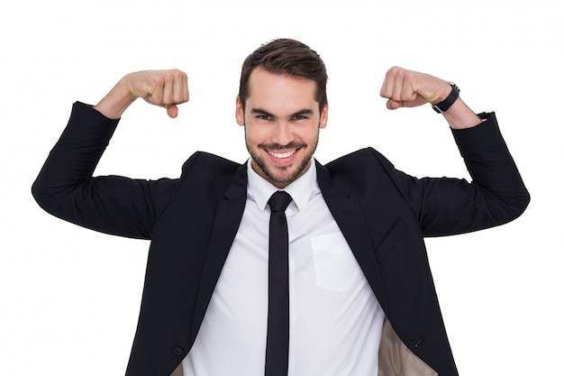 幸せなビジネスマン、訴えの応援