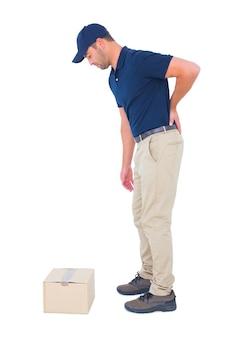 Доставка человек, страдающих от боли в спине на белом фоне