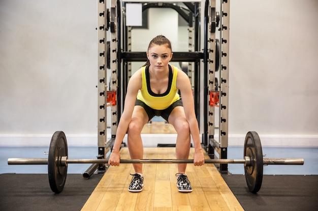 女性、持ち上げる、バーベル、体重