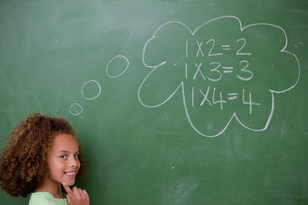 Школьница думает о математике
