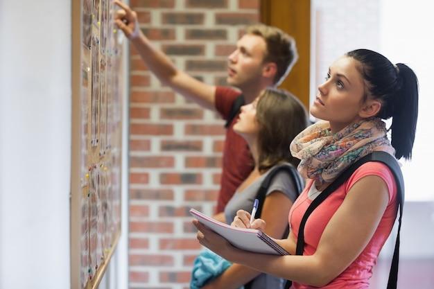 掲示板を見ている学生