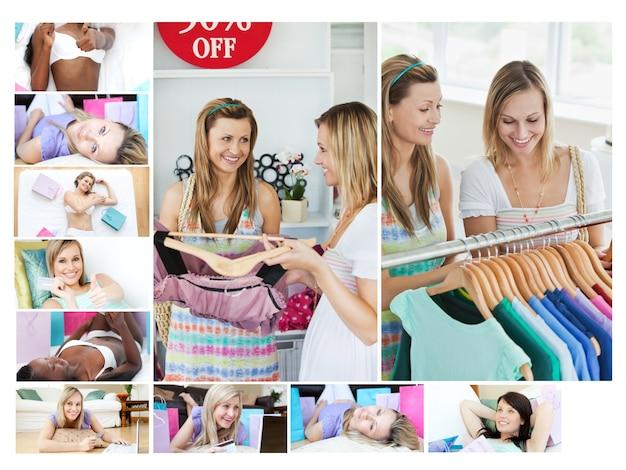 Монтаж женщин, занимающихся шопингом