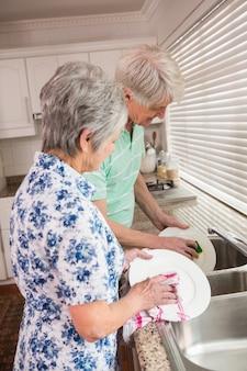 料理を洗うシニアカップル