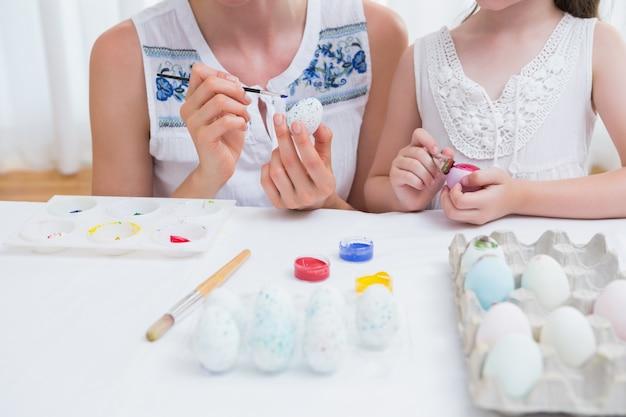 Мать и дочь живопись пасхальные яйца