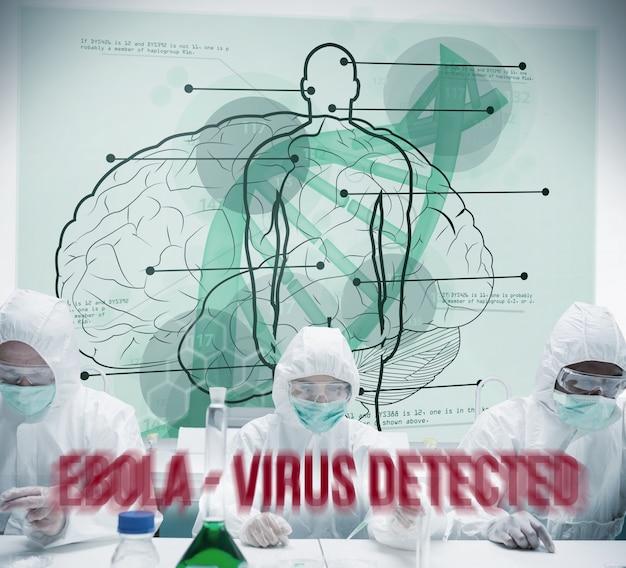 Химики, работающие в защитном костюме с футуристическим интерфейсом, показывающие научные диаграммы