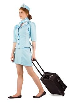 Довольно воздушная хозяйка, потянув чемодан