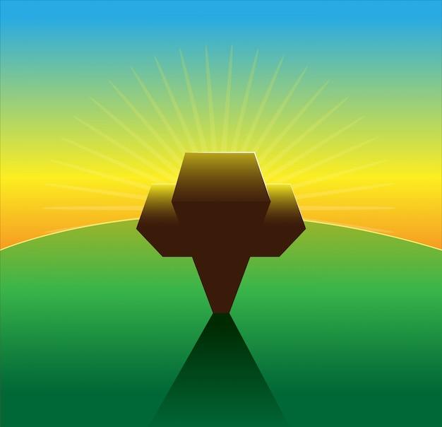 イースターサンデーベクトルのための十字架