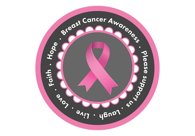 白い背景にピンクの乳がんの意識のメッセージ