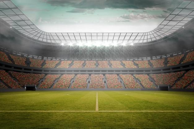 大きなスタジアムでのサッカーのピッチ