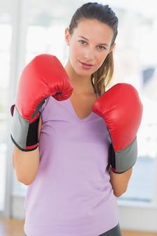 決定された女性のボクサーの肖像