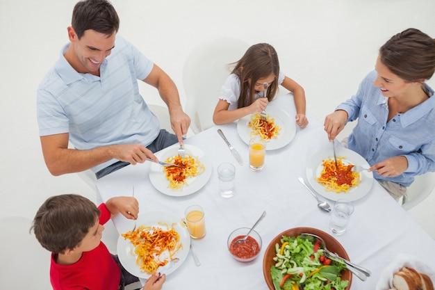 ソースとサラダを含む家族食パスタの概要