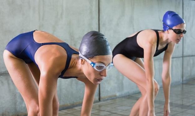 スイミングプールでダイビングしようとしている女性のスイマー