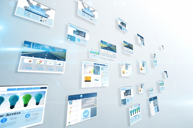 青色のビジネス広告を表示する画面