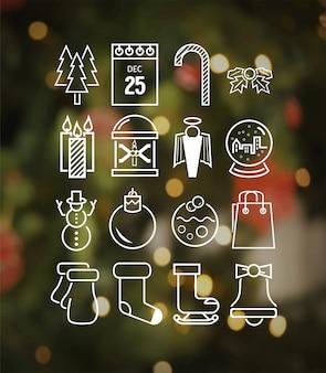 ヒップスタースタイルのベクトルでクリスマスのアイコン