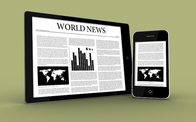 ニュースを表示するデジタルタブレットとスマートフォン