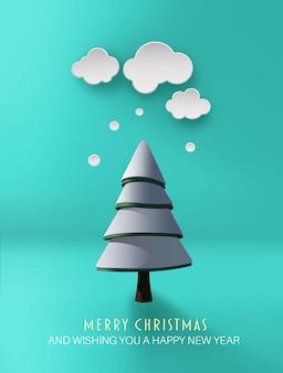 ツリーとメリークリスマスベクトル