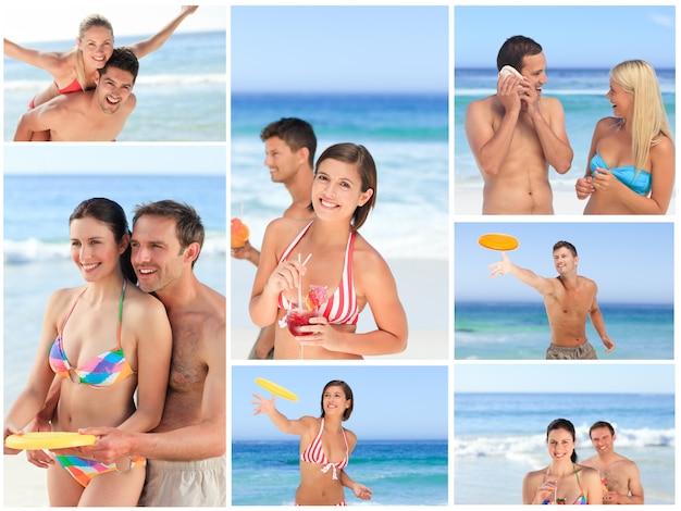 ビーチで一瞬一緒に楽しむ素敵なカップルのコラージュ