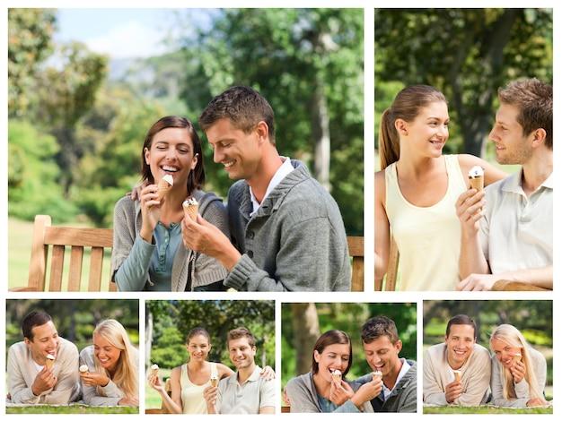 公園のアイスクリームを食べている素敵なカップルのコラージュ