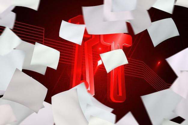 赤いツールで背景の前に白い紙