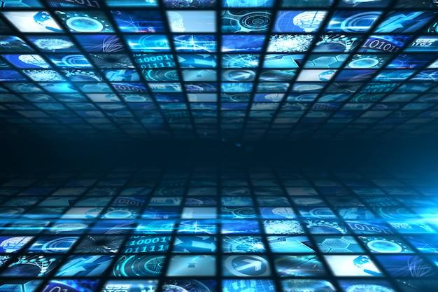 青色のデジタル画面の壁