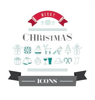 メリークリスマスベクトルアイコン