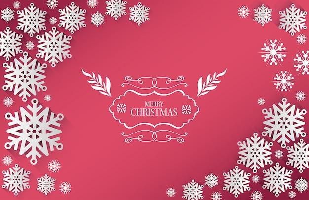 テキストと雪のフレークとメリークリスマスベクトル