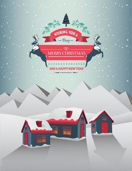 雪の多い村のクリスマスの挨拶