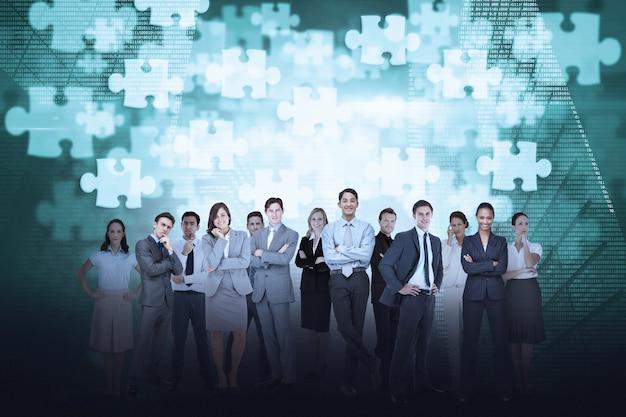 ジグソーパズルの背景とビジネスチームのデジタル複合