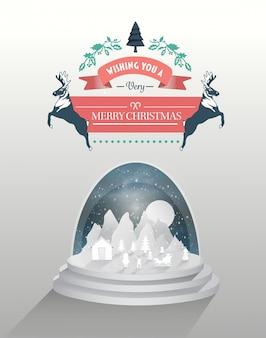 スノーグローブとメリークリスマスベクトル