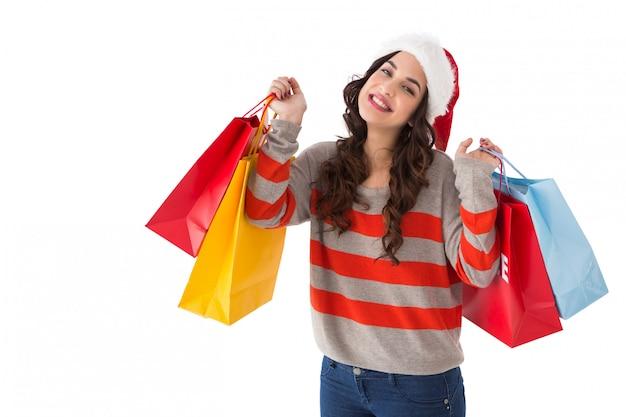 魅力的なブルネット、ショッピングバッグ