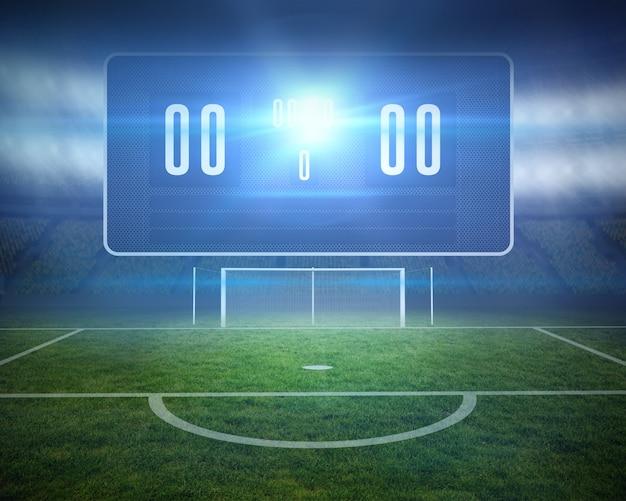 ゴールポストとスコアボードによるデジタル生成のサッカーピッチ