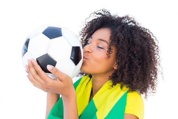 ブラジルの旗キスボールとかなりのサッカーファン