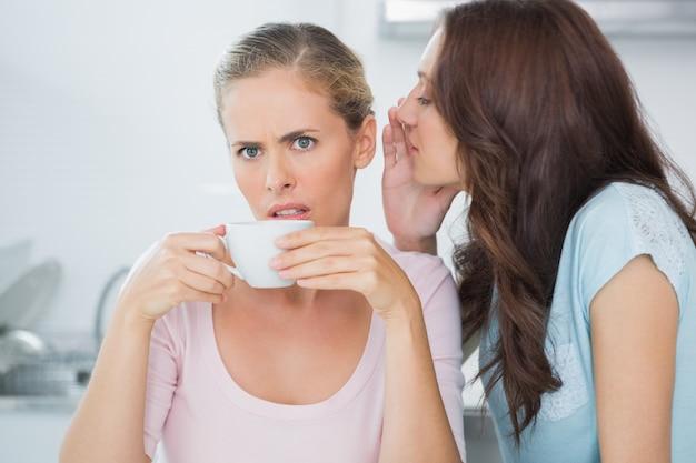 コーヒーを飲みながら彼女の友人に秘密を伝えるブルネット